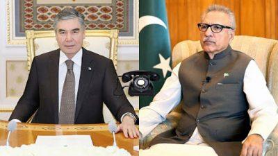 ترکمانستان کے ہم منصب کو فون سی پئک منصوبے سے علاقی روابط کو فروغ ملے گا صدر عارف علوی